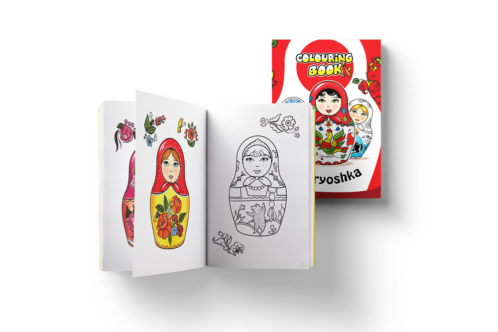 "MATRYOSHKA Coloring books Series of 4 books with traditional Russian folk ornaments and motives, including ""Matryoshkas"", ""Horses and Horses"" and ""All things Russian for Kids"" Client: MagniArt, St.Petersburg"
