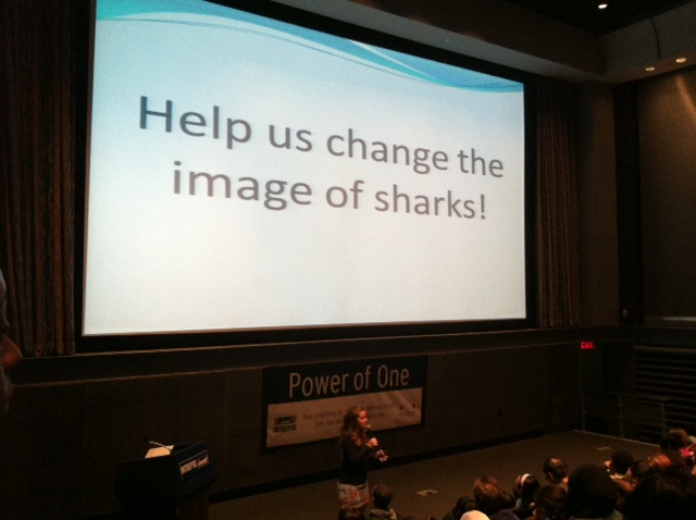 AWSC Education Director, Marianne Long presenting in front of 200 students in NYC.