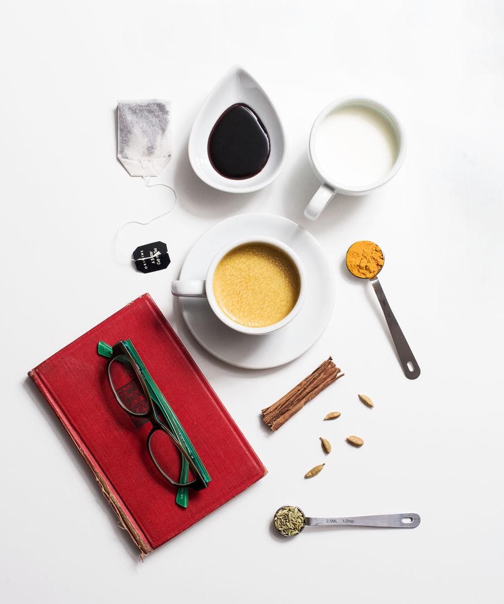 Golden Milk Chai Tea ingredients shot with off-camera flash