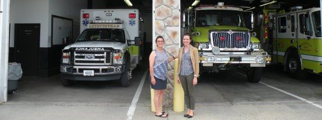 Lovettsville Volunteer Fire & Rescue President, Karen Deli, and Lovettsville Co-op Board of Directors Chair, Sarah Searle
