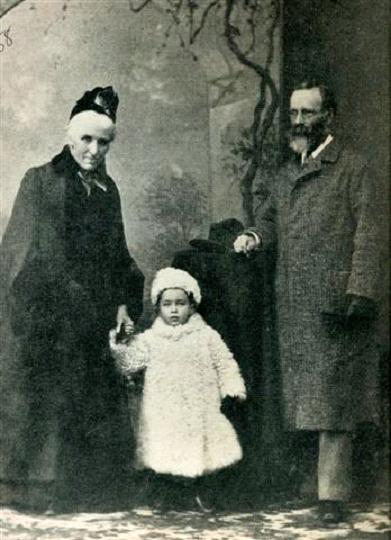 Bernard Leach with grandparents in Japan