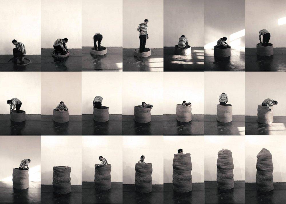 Majid Ziaee, Aporia, Clay performance, 200 x 80 x 80 cm