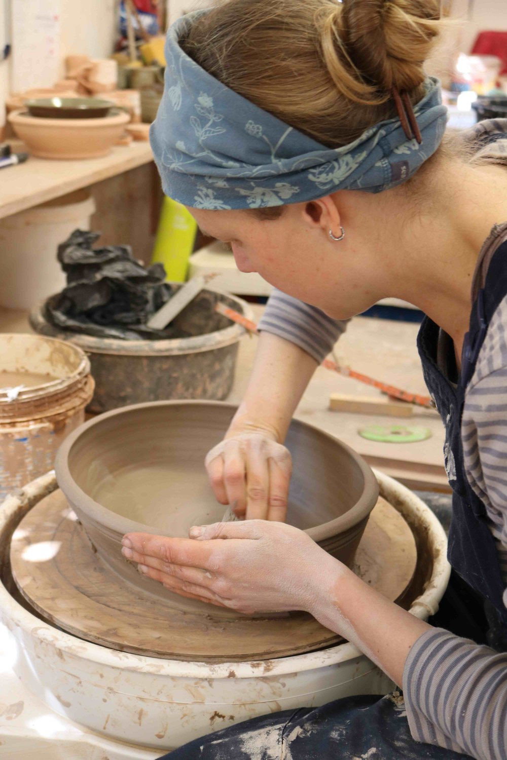 Working on an oval dish