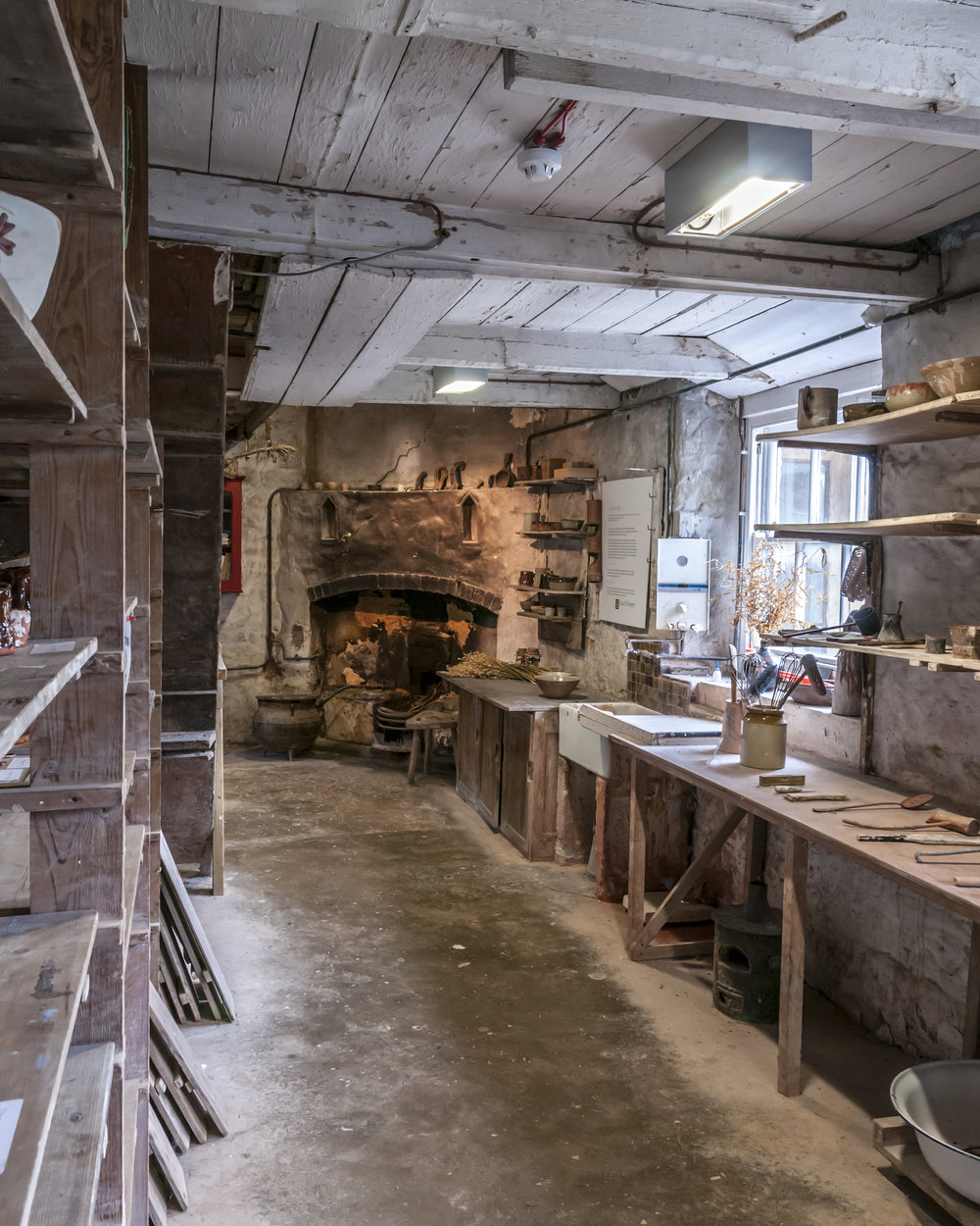 The Old Pottery, glazing room and fireplace