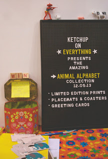 Ketchup on Everything's  awesome stand, where visitors posted votes for their favourite alphabet animal.