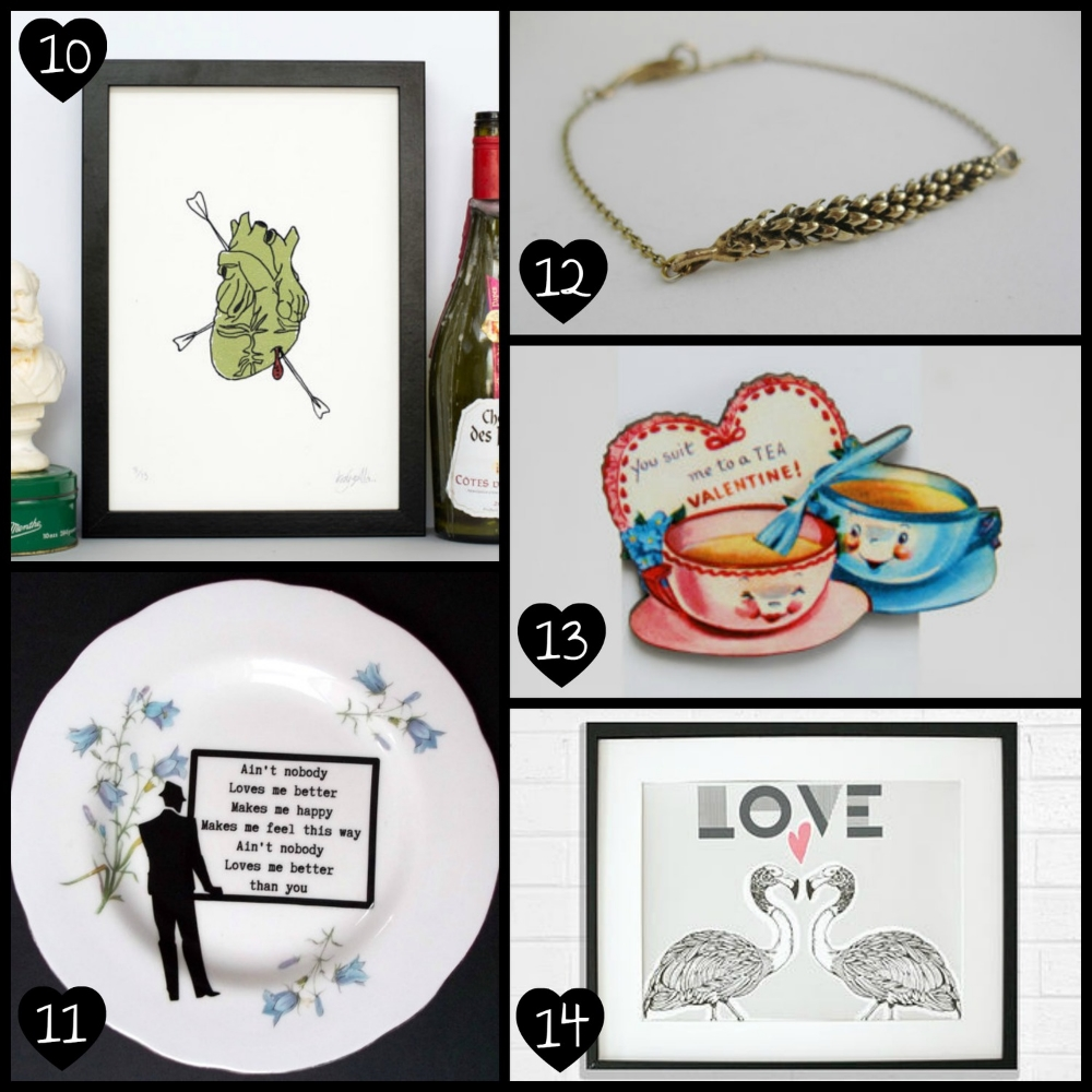 10.   Gold Heart Print  by Kaylene Alder Illustration, 11.   Upcycled Vintage Wellington China Plate  by alijoedesigns, 12.   Fern Bracelet  by We Are Arrow, 13.   Vintage Valentine Wooden Brooch  by Ladybird Likes, 14.   Screen Print  by Ginger Line Designs.