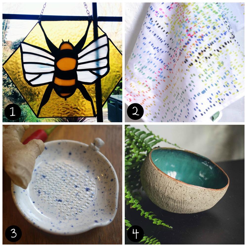 1. Ittindi Glass (Peckham - Sat 11 April), 2. JoannaZenghelis(Peckham - Sun 12 April), 3.Nyanko Pots (Peckham - Sun 12 April), 4.Daisy Cooper Ceramics(Peckham - Sat 11 April)