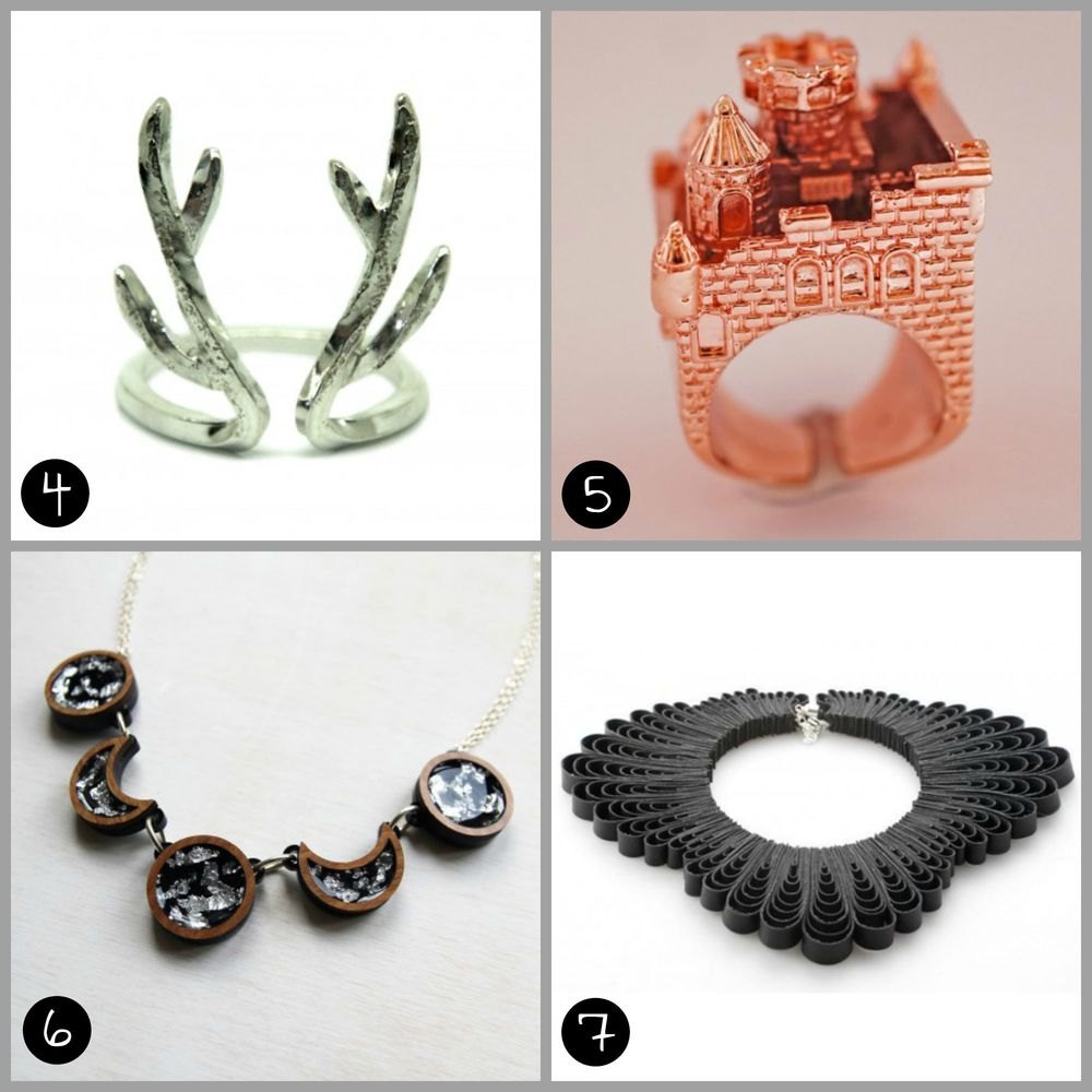 4. STERLING SILVER DEER ANTLER RING (£45) by Aether Design 5. ROSE GOLD CASTLE RING (£105) by MONVATOO London 6. MOON PHASE NECKLACE - BLACK, WOOD & SILVER LEAF (£35) by Rosa Pietsch 7.  DAMNATION GODDESS NECKLACE (£30) by Belles Bejewelled