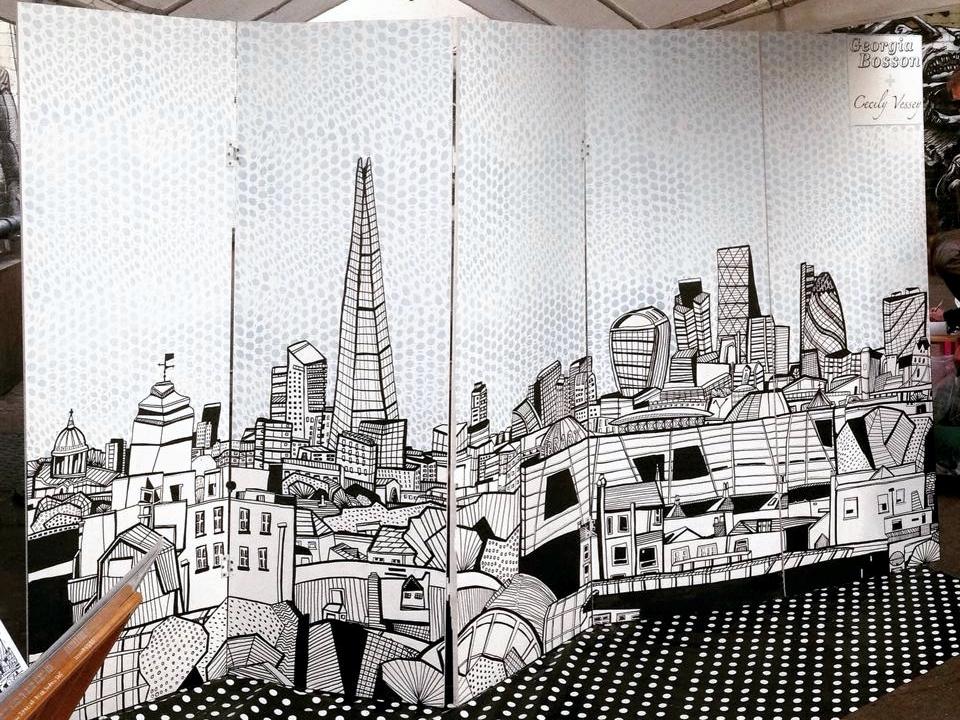 Cecily and Georgia worked together to produce this large scale mural of 'The View from Peckham's Rooftops'