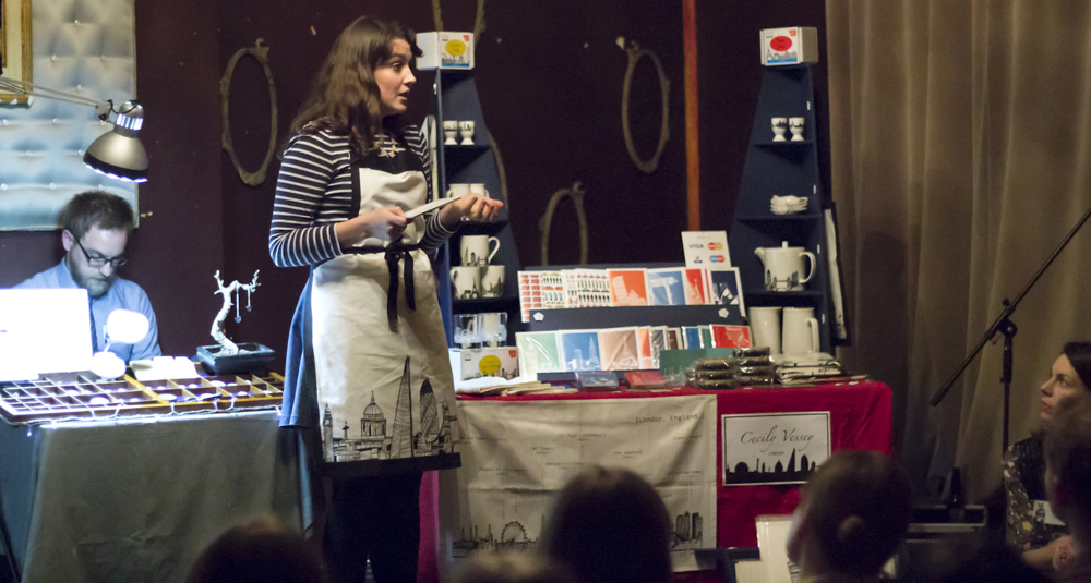 Cecily speaking at a Crafty Fox Talks event. Photo by Yeshen Venema