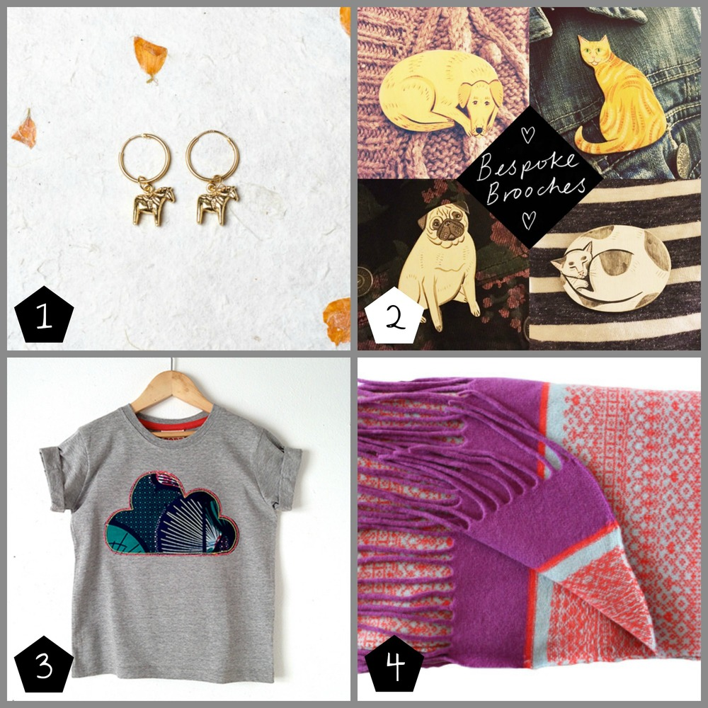 1.   Margot & Mila  will be taking bespoke jewellery orders at the market (Museum of London Docklands - 08 Dec)    2.   Rosie Gainsborough  is making a range of bespoke pet brooches, order before 15 Nov (Geffrye Museum - 17 Dec)  3.  Cleo Cobb  offers custom options for children's tees (Brixton - 06 Dec, Museum of London Docklands - 08 Dec)  4.  Suzie Lee Knitwear  can create bespoke knitted items (Museum of London Docklands - 08 Dec, Geffrye Museum - 17 Dec)
