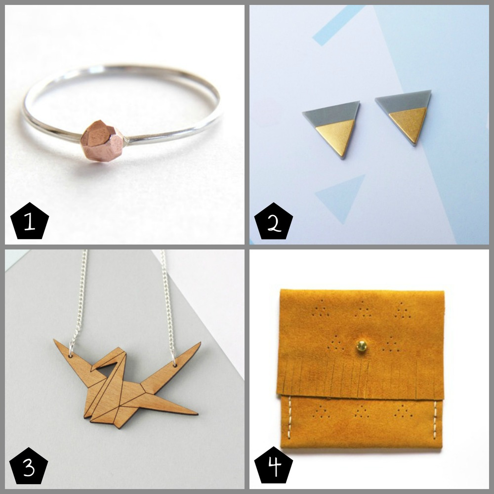 1. Relic copper nugget ring, £21 (Brixton - 06 Dec) , 2. Custom Made , dip studs £18 (Crafty Fox at The London Illustration Fair - 04-06 Dec, Peckham - 12 Dec), 3. Fawn and Rose, origami crane necklace £18 (Museum of London Docklands - 08 Dec), 4. OYWAH, Clem Tangerine £24 (Brixton - 06 Dec, Museum of London Docklands - 08 Dec)