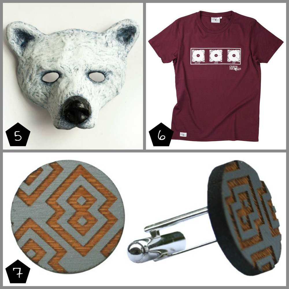 5. Nib&Chisel Polar Bear Mask £44.99 (Peckham - 12 Dec), 6. Crepe Records London Paris New York T-shirt £30 (Brixton - 05 Dec, Geffrye Museum - 17 Dec), 7. Uncommonly Beautiful Izzie Cufflinks £25 (The London Illustration Fair - 04-06 Dec, Peckham - 12 Dec)