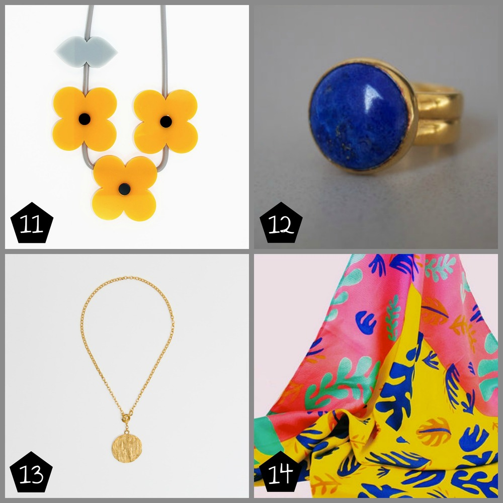 11.  Iris De La Torre  Black Eyed Girl Flower Necklace £70 (Brixton - 06 Dec), 12.  Naomi Tracz Jewellery  Lapis lazuli ring £135 (Brixton - 06 Dec, The Museum of London Docklands - 08 Dec), 13.  Zoe Morton  Greenwood Pendant Bracelet £85 (Peckham - 13 Dec), 14.  Claire Sherston  Scandi Carnival Scarf £80 (Brixton - 05 Dec)