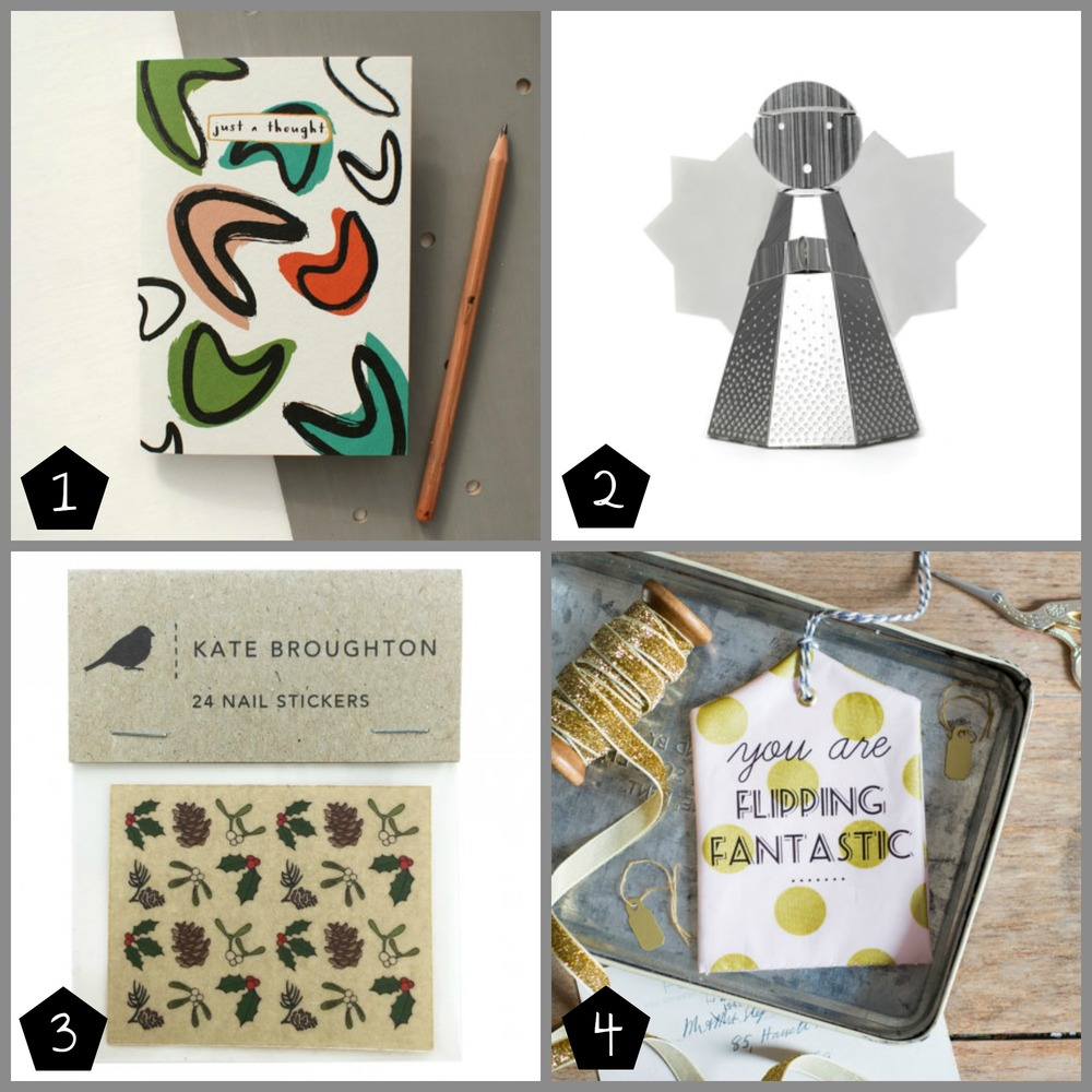 1.  Lucy Wilkins  A6 notebook £3.50 (Geffrye Museum - 17 Dec), 2.  Another Studio  Metal Angel Decoration £6.50 (Brixton - 06 Dec), 3.  Kate Broughton  Christmas Nail Stickers £3.00 (Peckham - 13 Dec), 4.  Oh Squirrel  Decorative Tag £6.00 (Peckham - 12 Dec)