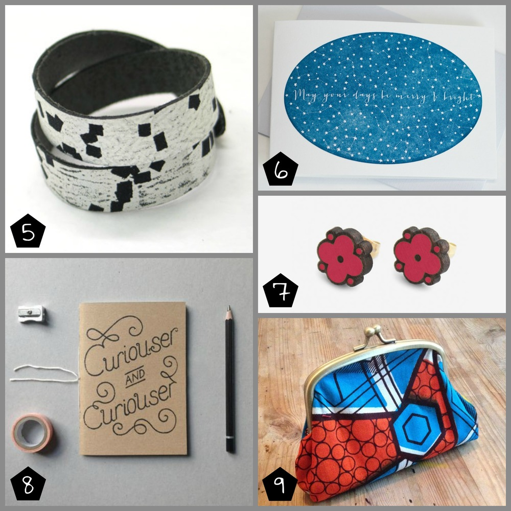 5.  Black Cactus London  Wristcuff Bracelet £12 (Geffrye Museum - 17 Dec), 6.  Prickle Press  Christmas Card £2.99 (London Illustration Fair - 06 Dec, Brixton - 05 Dec), 7.  MATERIA RICA  Earrings £12.00 (Brixton - 06 Dec, Museum of London Docklands - 08 Dec), 8.  Super Duper Things  Notebook £10 (Geffrye Museum - 17 Dec), 9.  Gaynor Trophies  Coin Purse £9 (Museum of London Docklands - 08 Dec)