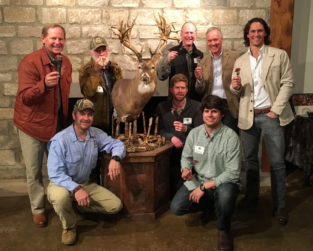 The 2017 Wild Game Dinner guest of honor was Stephen Tucker (lower right) who harvested the new B&C non-typical world-record whitetail in Sumner County, Tennessee on November 7, 2016. These gentlemen were taking the very first bite of this new world-record buck.