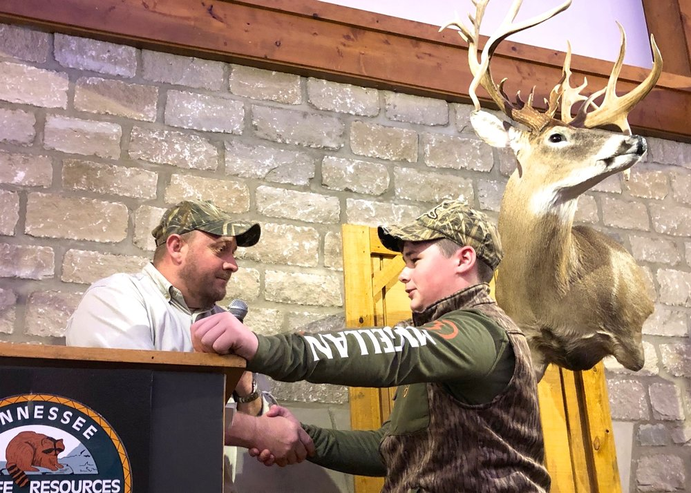 Bo Ezell was the guest of honor at the 2019 Dinner. Bo shot a tremendous 27-point buck in Benton County on December 28, and was invited to share his story with the crowd. TWRF's board of directors got together and purchased a Tennessee Lifetime License for Bo and surprised him with it After his Story.