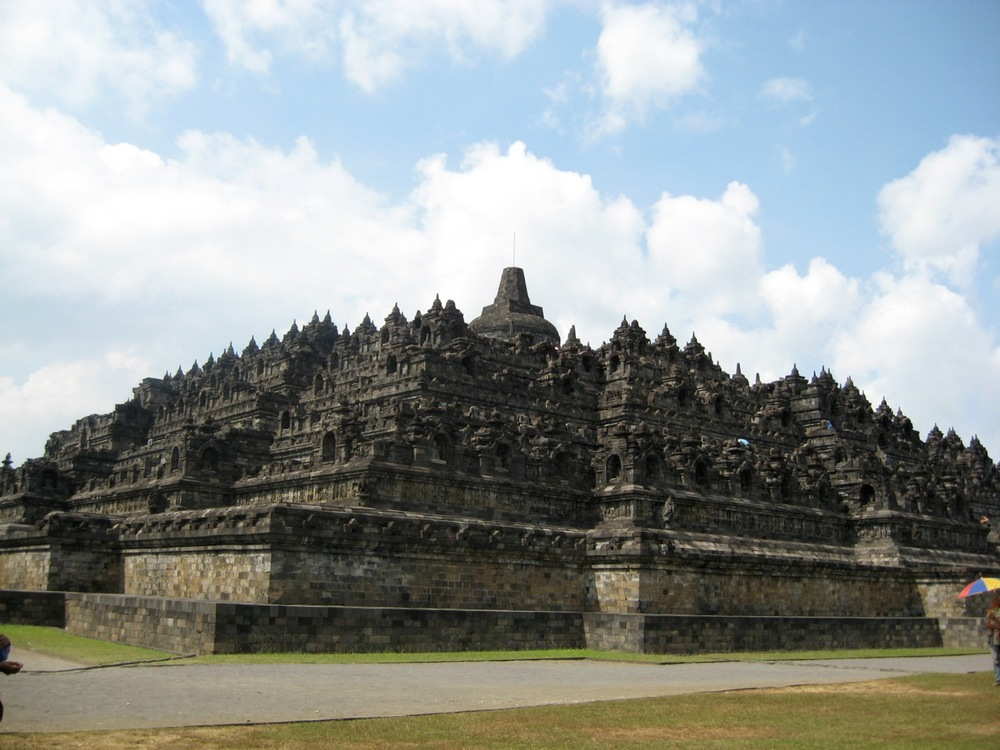 At Borobudur near Yogyakarta, East Java, Indonesia.