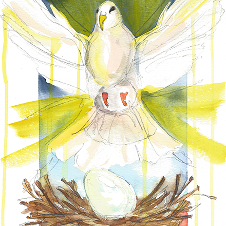 Original artwork by Lisa Shirk    Artist Reflection:  What is the Holy Spirit birthing in you that requires submission to bring it to fruition?  A bird is not ready to fly the moment it's laid as an egg. An Eagle cares for its egg for 35 days before it's hatched. Sometimes to allow maturation for something bigger, the wait is much longer... an elephant's gestation period is 22 months: that's 660 days of submitting to the process in order to birth that which she is to bring into the world in fullness and health.  How long am I willing to let what the Spirit has put inside me gestate? Do I require answers of Him now? Will I stay awake when He asks me to? Do I ask Him to complete His work in me in 35 days when it might actually take 660? Will I be patient enough to allow the fullness of the Spirit to come to fruition in me?  I'd like to wear down my hardened worldview and see that nest as a safe place of preparation; to embrace what feels like the 'in between,' and know it rather as my co-abiding in the Spirit.