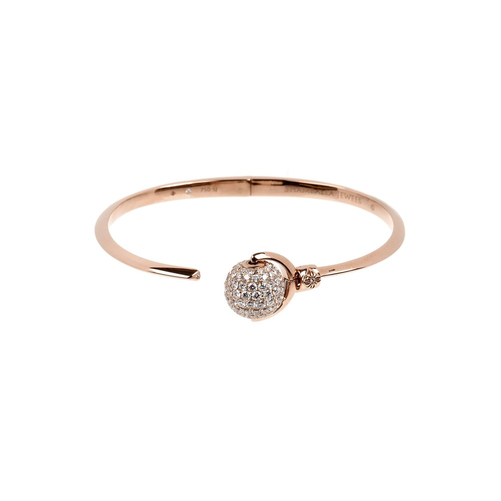 Nyima Cuff Armband   Cuff Armband der  Nyima  Kollektion in 18 Karat Roségold mit einer Diamantpavé-Kugel.