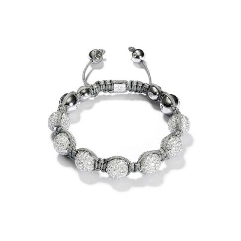 Shamballa Bead Bracelet   Shamballa Armband in 18 Karat Weissgold mit Diamantpavé-Kugeln.