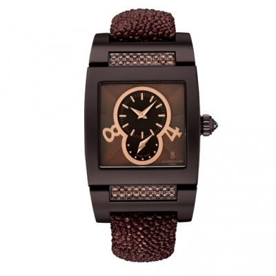 Instrumentino Armbanduhr   Damen Armbanduhr aus der Kollektion  Instrumentino  in 18 Karat Gold mit braunen Diamanten.