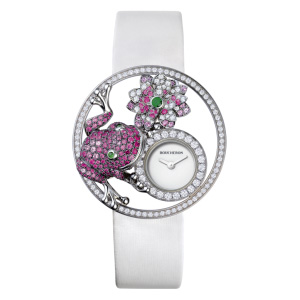 Ajourée Grenouille Jewelry Watch   Armbanduhr aus der Kollektion  Ajourée  in 18 Karat Weissgold mit Diamanten, rosa Saphire, Rubinen und Tsavoriten.