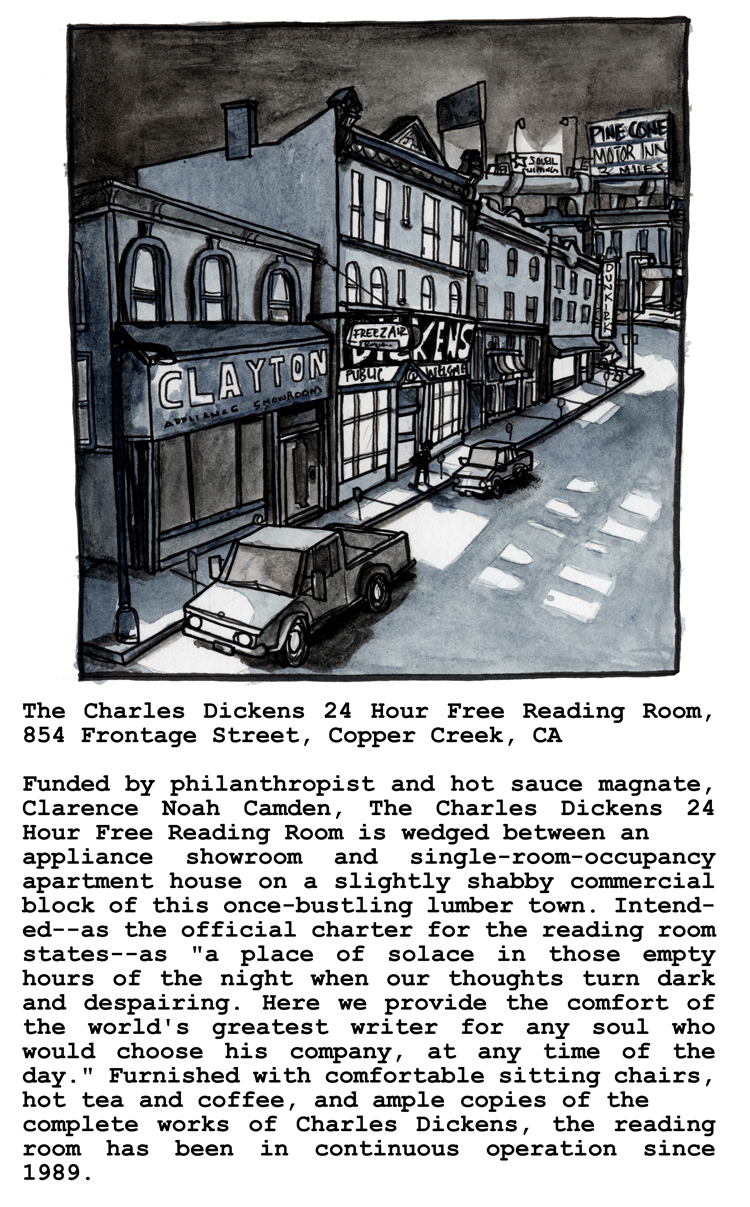 The Charles Dickens 24 Hour Free Reading Room, 854 Frontage Street, Copper Creek, CA