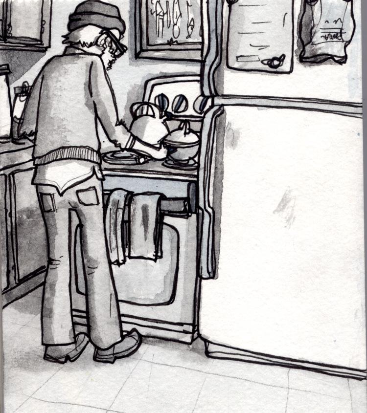 Farel in the kitchen, Portland, OR