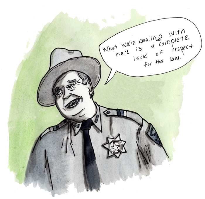 Sheriff Buford T. Justice Jackie Gleason — Smokey & the Bandit, 1977 An earlier Gleason here: http://thecowboycampfire.tumblr.com/post/2699132079/a-half-shoddy-attempt-at-drawing-jackie-gleason