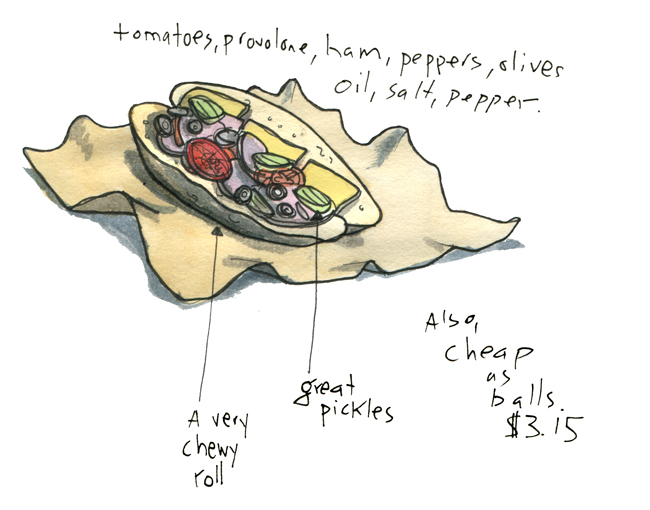 "Greg asked for a sketch of an Amato's ""Real Italian"" sandwich. My feeling is the sandwich is basically a pickle delivery system."