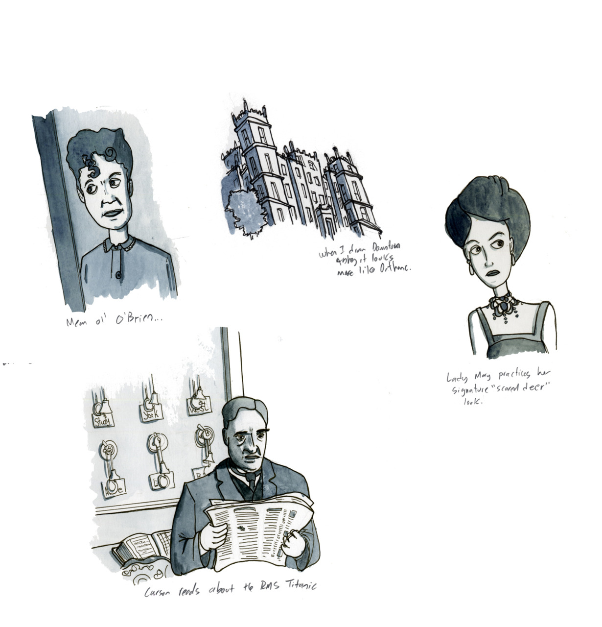 Sketches from my Downton Abbey piece on Meathaus.