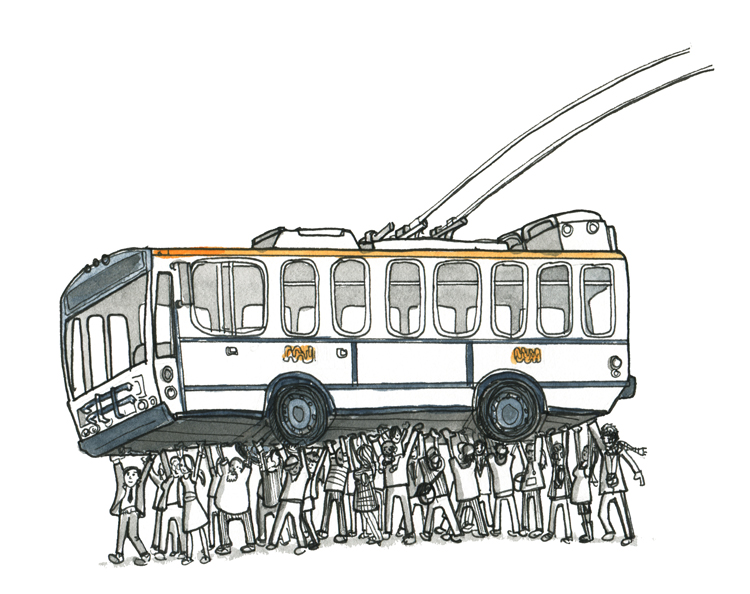 bus illustration for SF Muni Diaries Live event