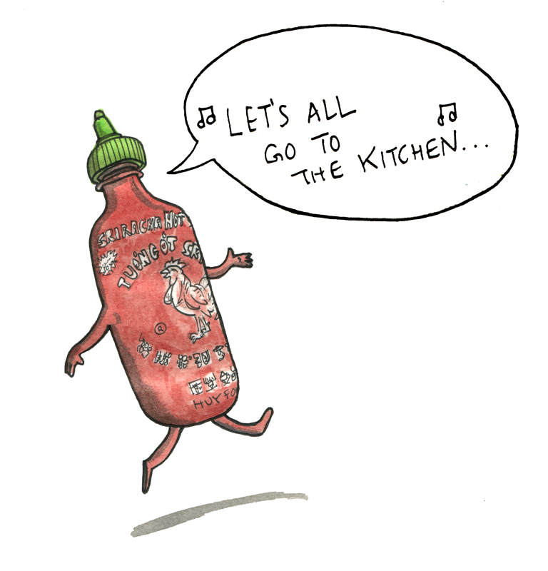 Hello friends. Print for sale! It's self-evident that you'd like to own a dancing Sriracha bottle to remind you of the good things in life. It will be printed on 8 x 10 inch acid-free paper and mailed to you with care. I'm attempting to crowd source this, so the more folks who contact me with interest, the more I can print, and the cheaper it will be (I'm thinking a price range of appx $25-45). Email me at jaytsacher at gmail dot com for more info.