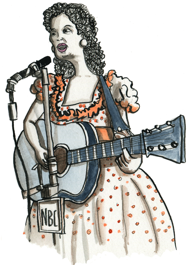 While listening to WKCR's  Kitty Wells memorial broadcast , I drew this…