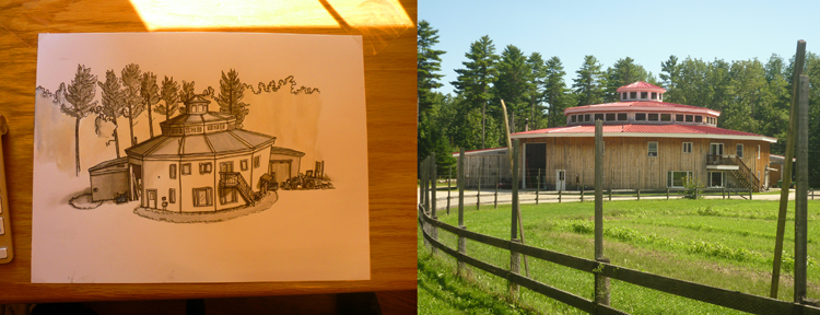 I drew the kooky/cool house/barn/workshop we're staying in…