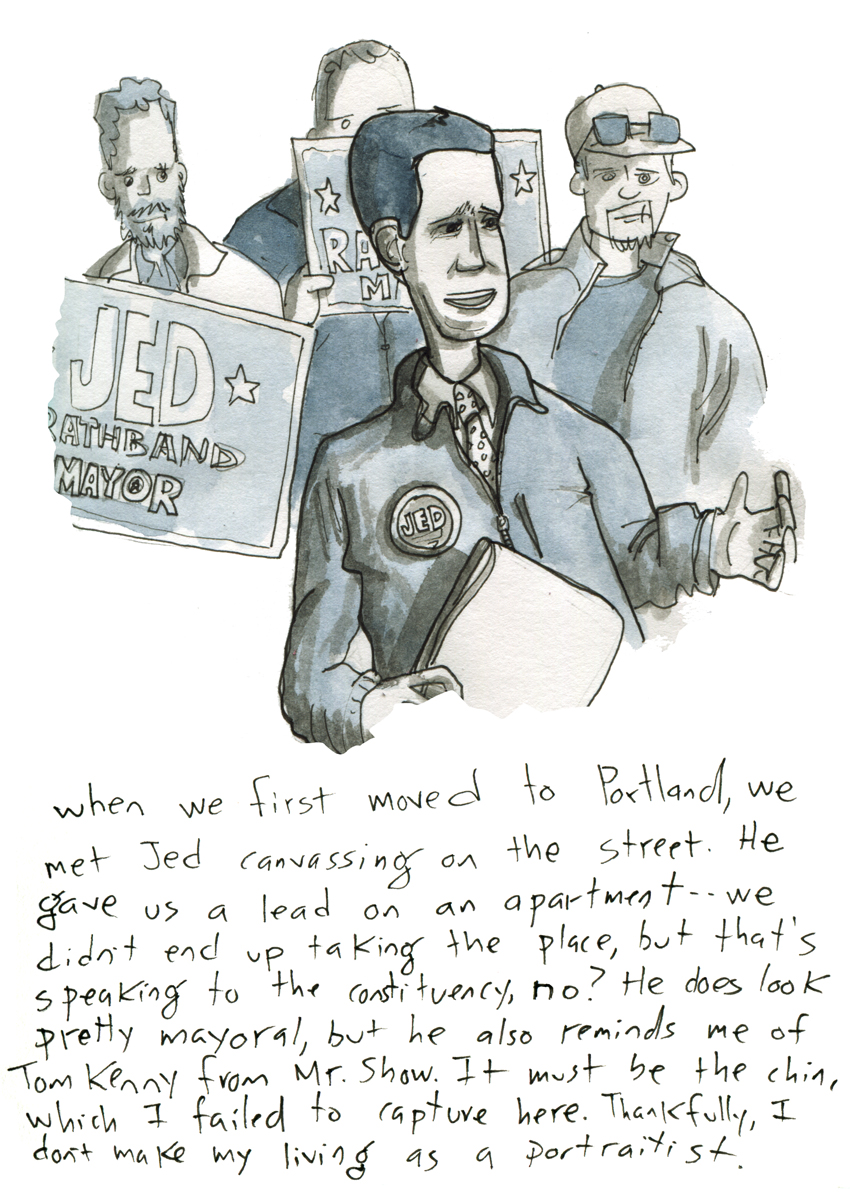 Sketchbook: Portland Mayoral Candidate, Jed Rathband