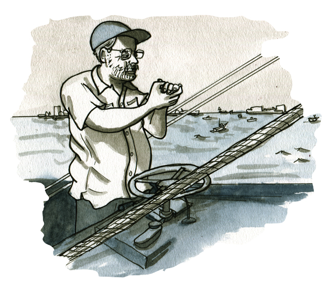 sketchbook: Hemingway at a fishing tournament, Cuba 1953 (not pictured: cats).