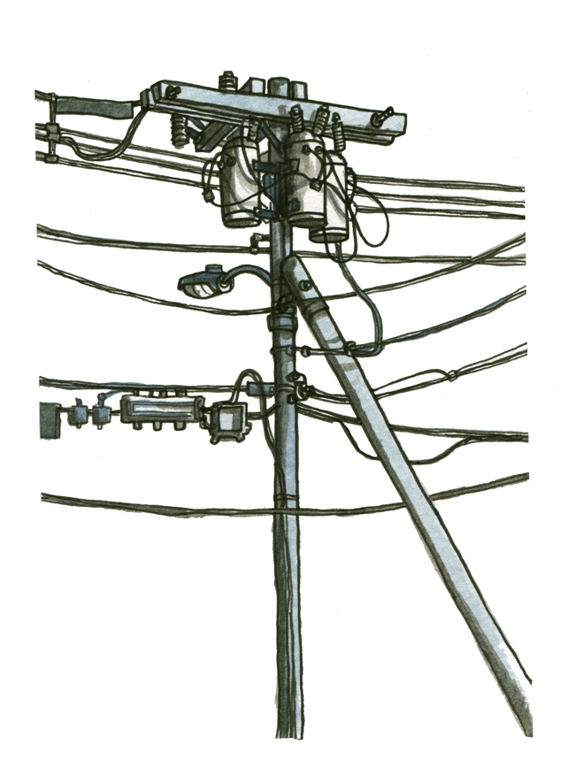 sketchbook: telephone pole — Portland, Maine