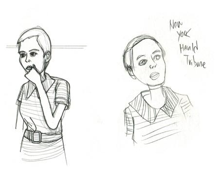 """sketchbook: """"New York Herald Tribune!""""     Jean Seberg in Breathless"""