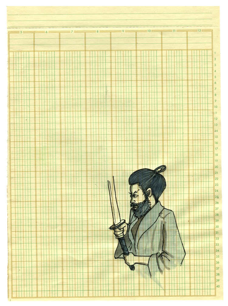 here's a pen and ink samurai on graph paper