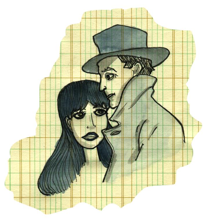 Anna Karina,Eddie Constantine on graph paper — Alphaville