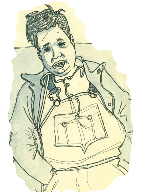 sketchbook page: overalls