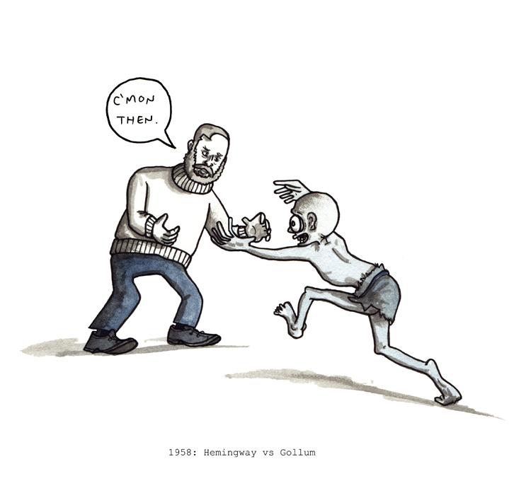 Ernest Hemingway wrestles Gollum, 1958