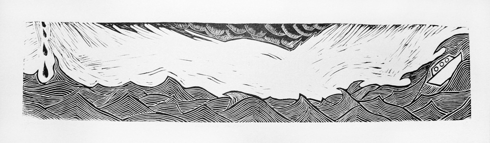 "Here Comes the Flood. Linocut on paper, 8.5""x27"""