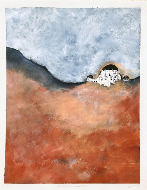 OK LA (Griffith Observatory) . Acrylic, graphite on gessoed BFK paper.