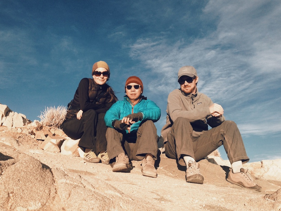 The hiking trio enjoying the vista at Key's View just before sunset.