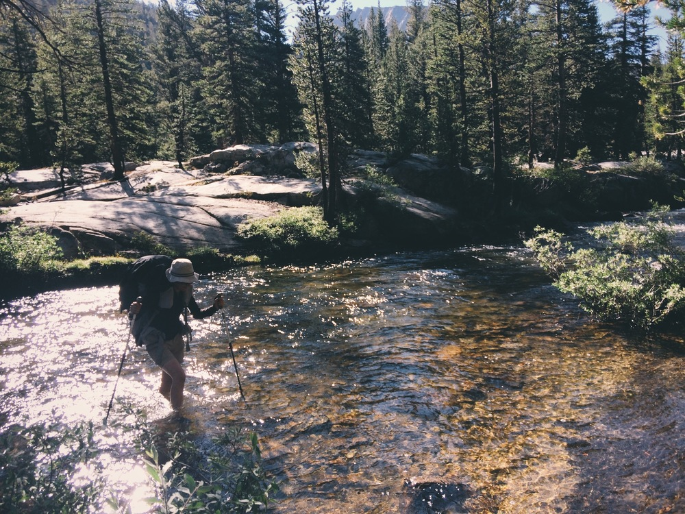Crossing Bear Creek, one of only two stream crossings on the JMT that required us to change out of our boots during this drought year.