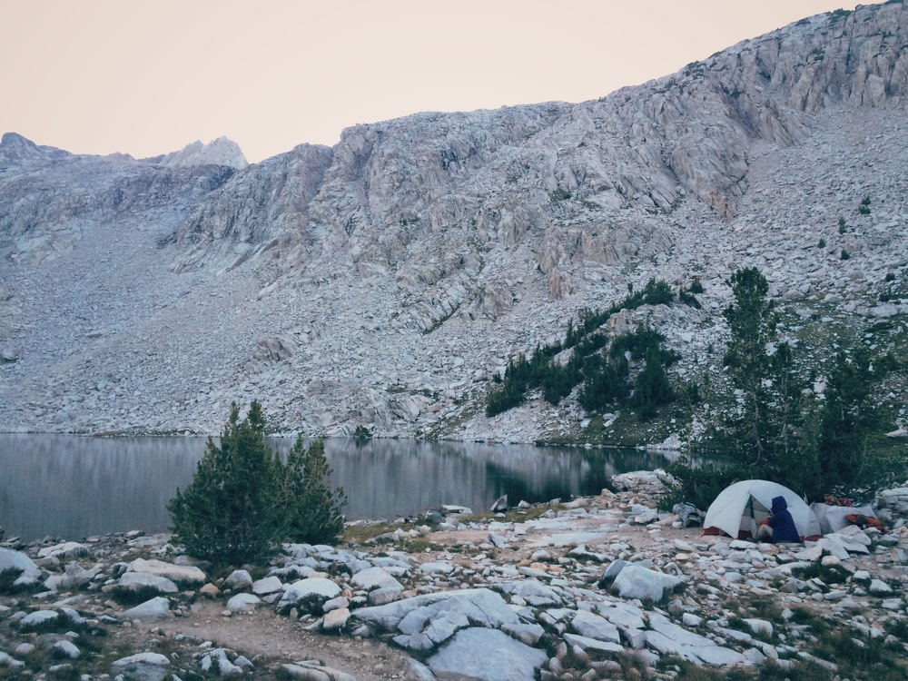 Day 10: camped at the unnamed lake at 10,800' east of Helen Lake.